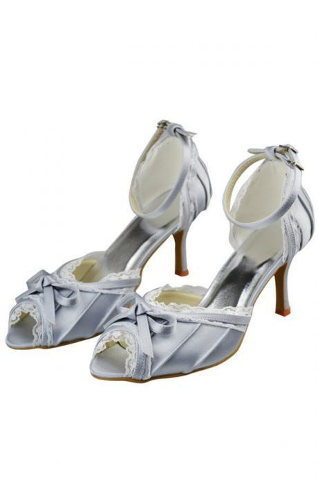 Comfy Silver Satin Lace Ankle Strap Peep Toe Elegant Party Shoes,Wedding Shoes,Women Shoes