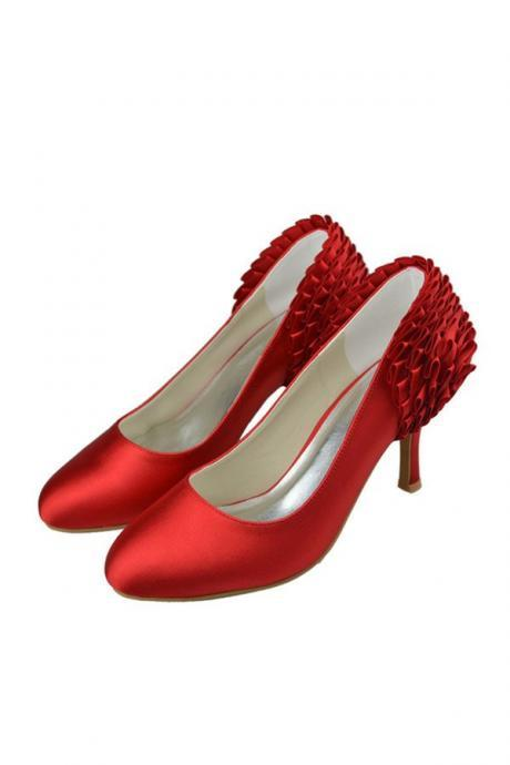 Red Satin Handmade Simple Cheap Beauty Wedding Shoes,Party Prom Shoes