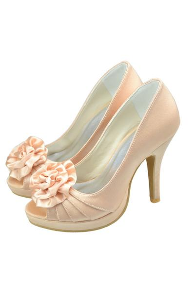 Pretty Champagne Elegant High Heel Peep Toe Satin Wedding Shoes,Party Shoes,Handmade Shoes