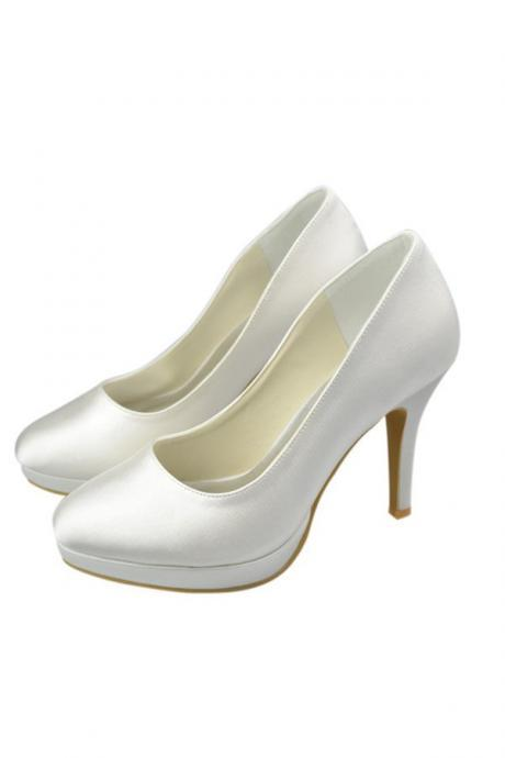 Comfy Handmade High Heel Ivory Satim Women Shoes,Pretty Shoes,Classy Prom Shoes