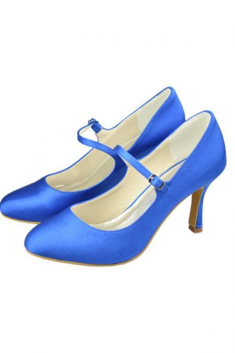 Mary Jane Shoes,Simple Satin Blue High Heel Shoes,Handmade Comfy Prom Shoes
