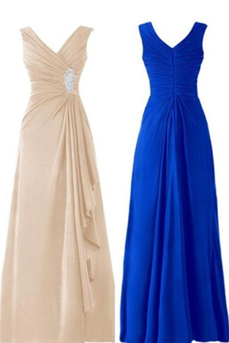 Simple V-neck Long Chiffon Elegant Prom Dresses,Handmade Prom Gowns,Prom Mother Of The Bridal Dresses