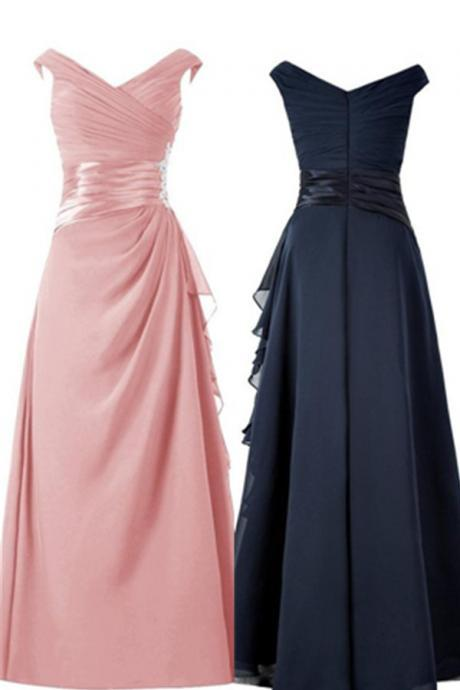 A-line Pink Long Chiffon Beading Prom Dresses,Evening Dresses,Evening Gowns,Mother Dresses