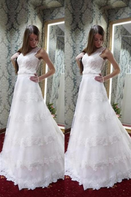 White A-line Simple Cheap Handmade Lace Open Back Wedding Dresses,Elegant Modest Wedding Gowns,Charming Bridal Dresses