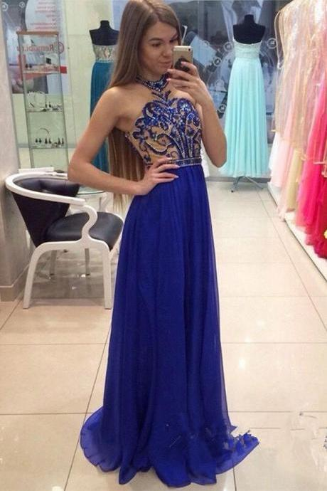Halter Royal Blue Chiffon Beading Prom Dresses,Modest A-line Prom Dress,Pretty Prom Gown For Teens,Party Dresses