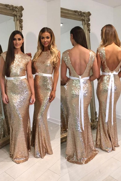 Sequin Shiny Mermaid Long Open Back Bridesmaid Dresses,Prom Dresses,Sexy Dress With White Belt