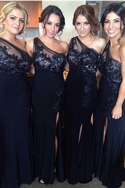 Charming One Shoulder Lace Bridesmaid Dresses,Front Split Long Bridesmiad Dresses,Navy Blue Bridesmaid Gowns