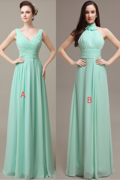 Mint Chiffon A-line Prom Dresses,Simple Cheap Bridesmiad Dresss,Elegant Bridesmaid Gowns,Pretty Bridesmaid Dresses For Wedding