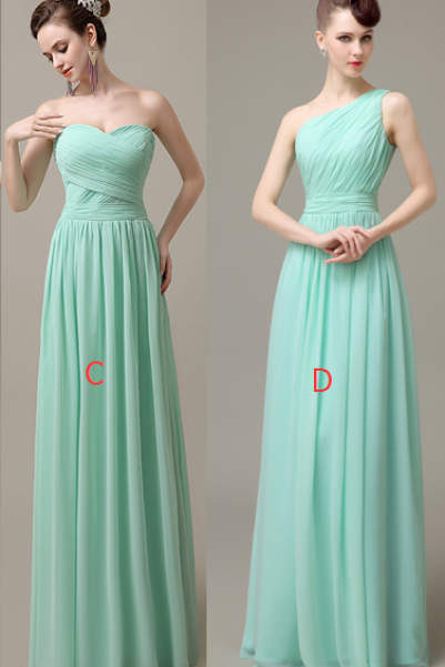 Simple Mint Chiffon Bridesmaid Dresses,A-line Bridesmaid Dresses,Handmade Bridesmaid Dress For Wedding Bridesmaid Gowns