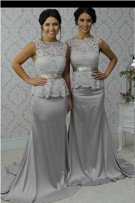 3e72fd52dab Sweep Train Sliver Grey Long Bridesmaid Dresses