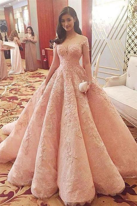 Sparkly Gorgeous Long A-line Prom Dresses,Quinceanera Dresses,Modest Prom Dress For Teens,Pink Prom Gowns DR0509
