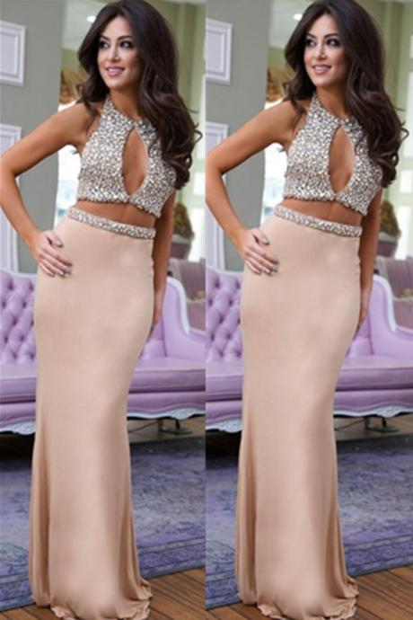 Charming Sexy Two Pieces Beaded Prom Dresses,Handemade Mermaid Long Prom Dress For Teens,Evening Dress,Prom Gowns