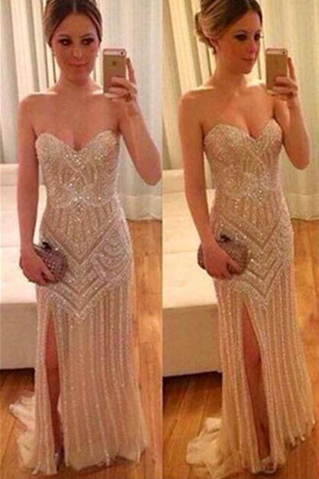 Pretty Sequin Shiny Prom Dresses,Sparkly Prom Gowns,Sweetheart Beading Prom Dresses,Modest Evening Gowns,Front Split Prom Dress
