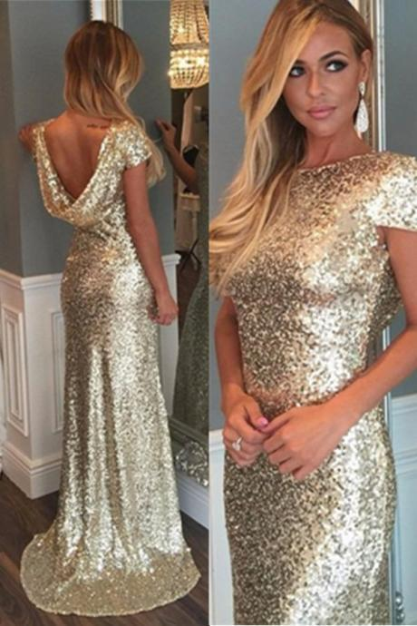 Cap Sleeves Sparkly Prom Dresses,Long Mermaid Prom Dress,Elrgant Bridesmaid Dresses,Open Back Prom Gowns