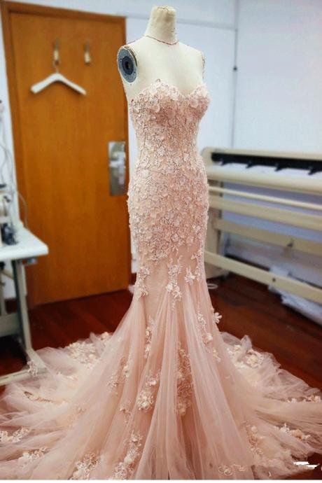 Pink Sweetheart Prom Dresses,Mermaid Wedding Dresses,Wedding Gowns,Applique Long Bridal Dresses