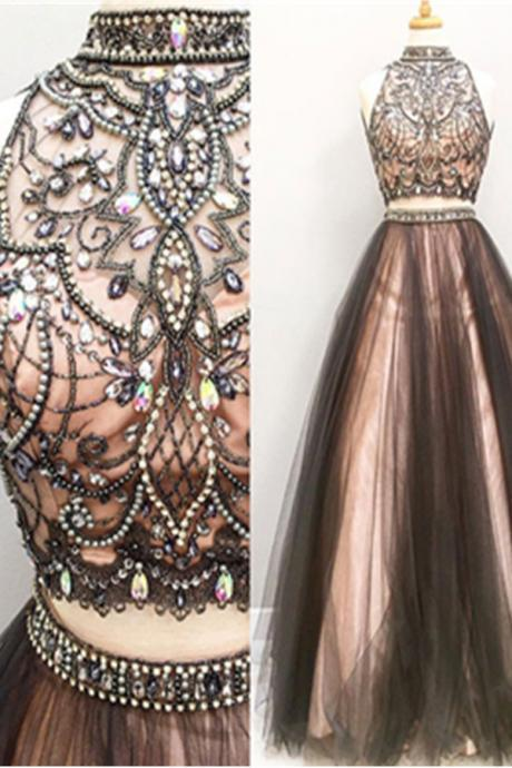 Two Pieces Prom Dresses,A-line Tulle Prom Gowns,Halter Beading Evening Dresses,Beautiful Party Dresses,Cute Dresses DR0020