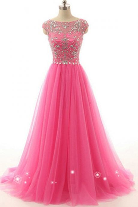 A-line Tulle Beading Handmade Long Zipper Back Beautiful Prom Dresses With Flower Type.Charming Graduation Dresses,Handmade Prom Gowns