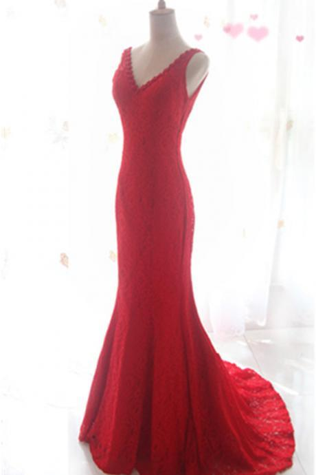 Red V-neck Mermaid Prom Dresses,Sweep Train Lace Prom Dress,Charming Elegant Prom Gowns,Formal Evening Dresses