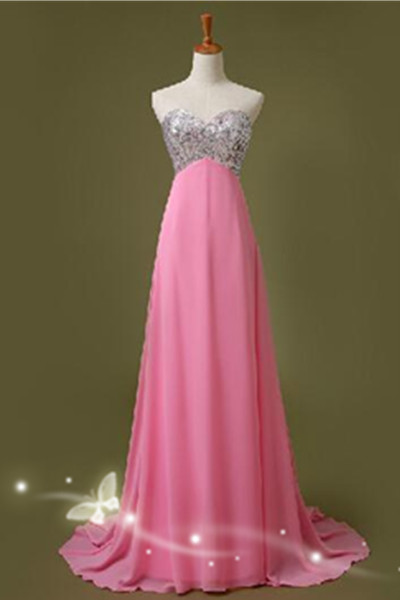 Pink Sweetheart Prom Dresses,Handmade Prom Gowns,Simple Cheap Bridesmaid Dresses,Long Bridesmaid Dress,Chiffon Bridesmaid Dresses