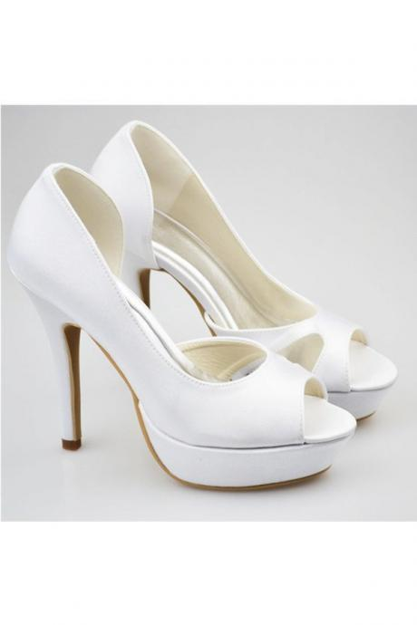 White Shoes,High Heel Shoes,Women Shoes,Prom Shoes,Satin Shoes,Peep Toe Shoes,Elegant Shoes