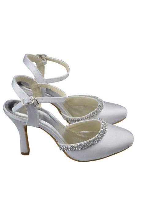 Ankles Strap White Shoes,Wedding Shoes,Round Toe Shoes,Satin Beading Shoes,Women Shoes