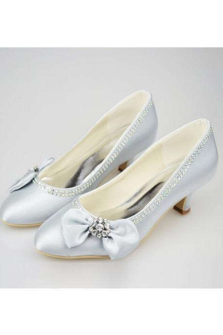 Silver Shoes,Simple Style Shoes,Low Heel Satin Shoes,Pretty Shoes