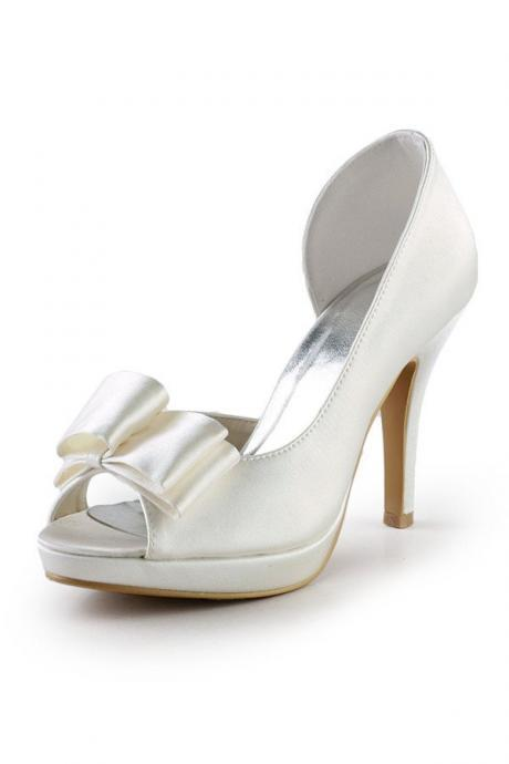 Ivory High Heel Shoes,Handmade Shoes.Peep Toe Shoes,Wedding Shoes,Simple Satin Shoes
