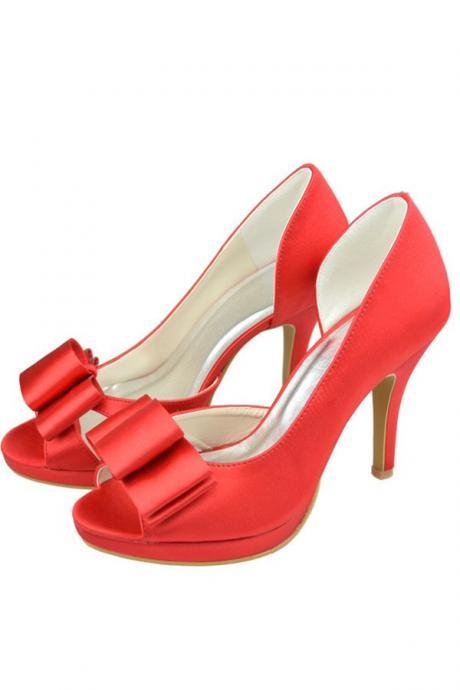 Beautiful Red Satin Peep Toe Shoes,Handmade Wedding Shoes,Comfy Prom Shoes