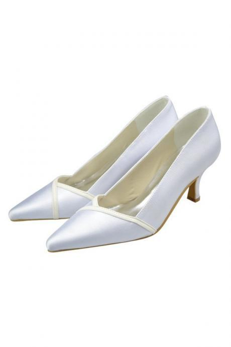 White Wedding Shoes,Handmade Evening Shoes,Pointed Toe Shoes,Satin Shoes