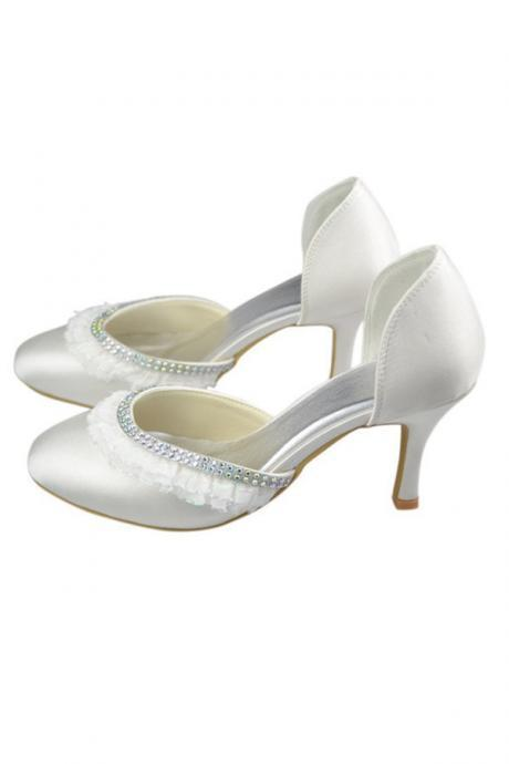 Close Toe Shoes,Round Toe Shoes,Beaded Shoes,High Heel Shoes,Ivory Satin Shoes