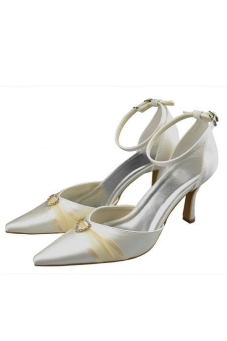 Pointed Toe Shoes,Ankle Strap Close Toe Shoes,Women Shoes,Pretty Shoes,Ivory Wedding Shoes