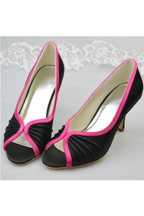 White And Black Prom Shoes,Elegant Classy Women Shoes,High Heels