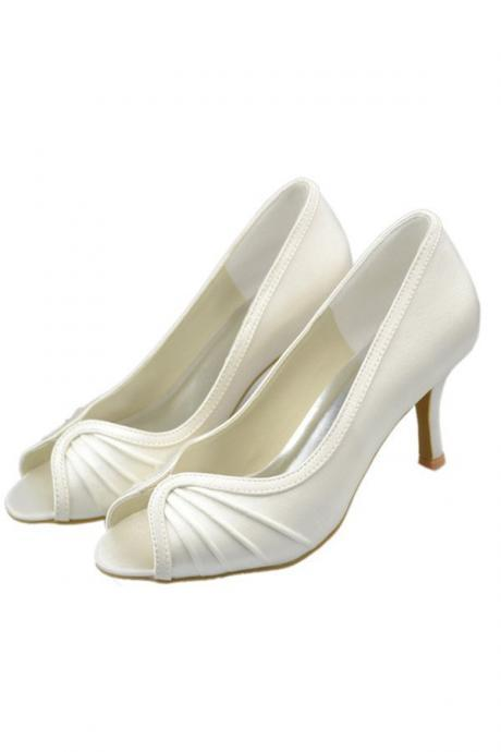 Simple Cheap Satin Shoes,Peep Toe Shoes,Ivory Shoes,High Quality Handmade Shoes