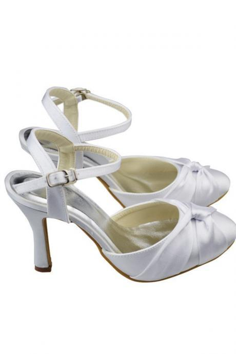 Ankle Strap Handmade Shoes,Sandals,High Heels,Close Toe Women Shoes,Satin Prom Shoes