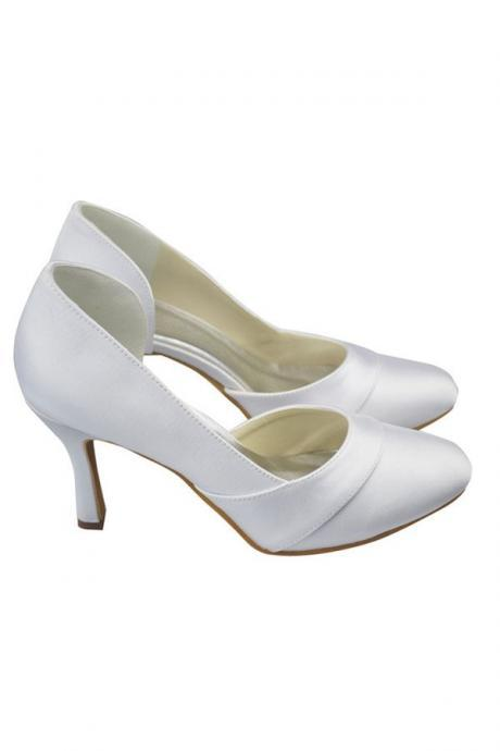 White Shoes,Satin Shoes,Close Toe Shoes,Simple Cheap Shoes,High Heel Shoes,Women Shoes