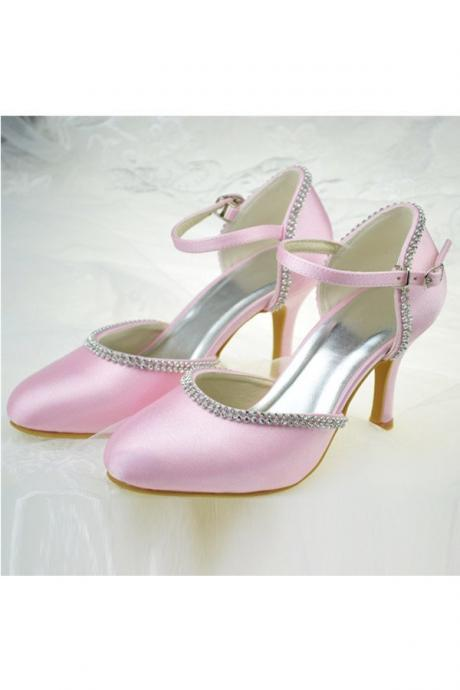 Girly Pink Satin Shoes,High Heels,Close Toe Shoes,Pretty Party Shoes For Teens,Comfy Shoes
