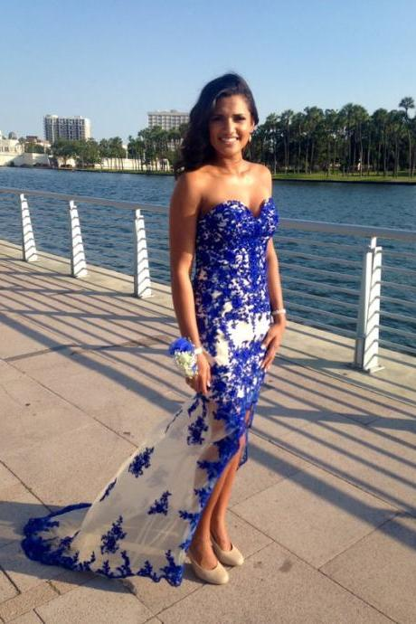 Royal Blue Lace Sweetheart Prom Dresses,Front Split Prom Gowns,Long pen Back Evening Dresses,Prom Dress 2017
