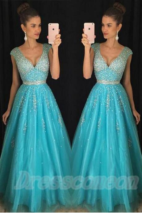 Charming V-neck Prom Dresses,A-line Evening Dresses,Formal Wedding Party Dresses,Beading Chiffon Blue Prom Dresses For Teens