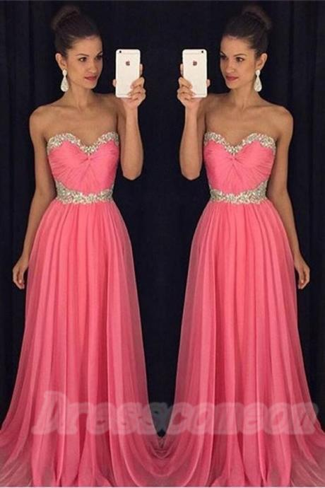 Sweetheart Red Prom Dresses,Beading Chiffon Prom Gowns,Pretty Prom Dress For Girls,Cute Dresses,Graduation Dresses