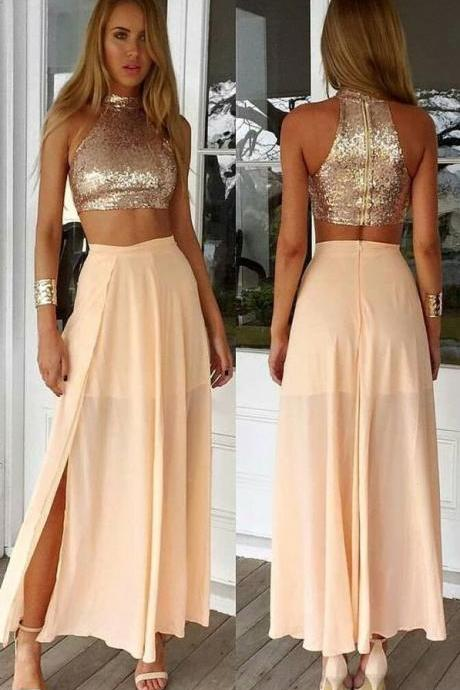 Simple Two Pieces Prom Dresses For Teens,Champagne Chiffon Prom Gowns,Women Dresses,Handmade Evening Gowns,Party Prom Dresses