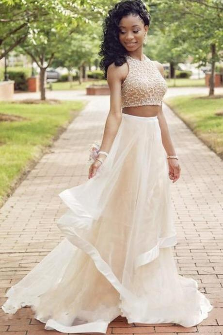 O-neck Prom Dresses,Two Pieces Prom Gowns,Long Beading Prom Dresses For Teens,Beauty Elegant Party Dresses
