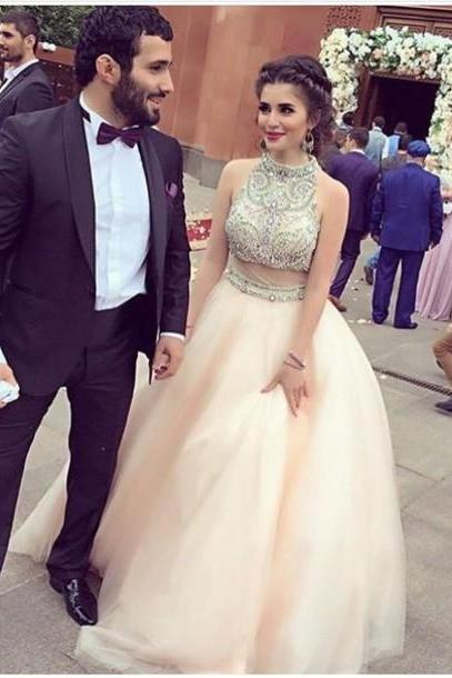 Real Nice Pink Two Pieces Prom Dresses,Princess Prom Dresses,Quinceanera Dresses,Pretty Party Dresses,Modest Evening Dresses,Dresses For Teens