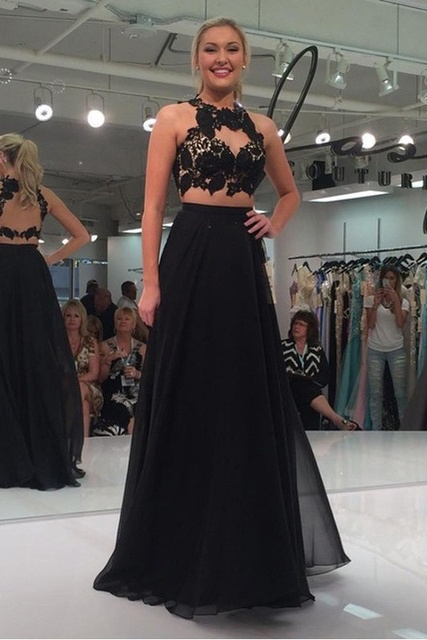 Black Chiffon Prom Dresses,Two Pieces Lace Prom Dresses,A-line Long Prom Dresses,Beauty Party Dresses,Women Dresses
