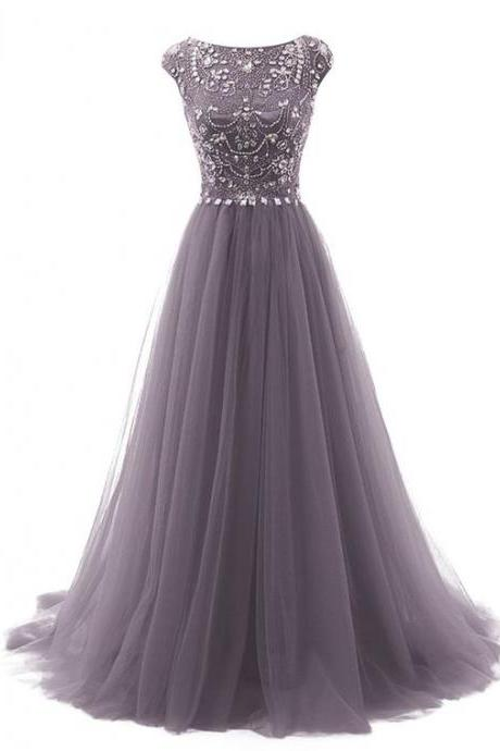 Grey Beading Prom Gowns With Flower Type,Modest Evening Dresses,Party Dresses,Long Floor Length Prom Dresses For Teens