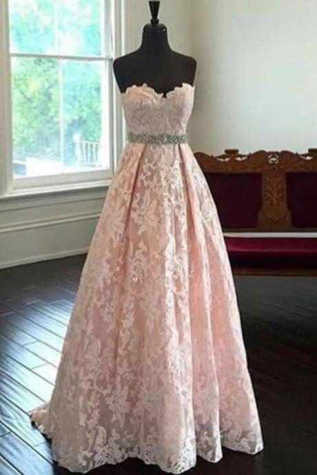 Pink Sweetheart Lace Prom Dresses,Lace Up Prom Gowns,A-line High Low Prom Dresses For Teens,Cute Dresses,Women Dresses
