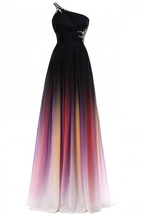 One Shoulder Long Ombre Chiffon Prom Dresses,Simple Cheap Prom Fowns,Dress For Teens,Evening Dresses,Party Dresses DR0464