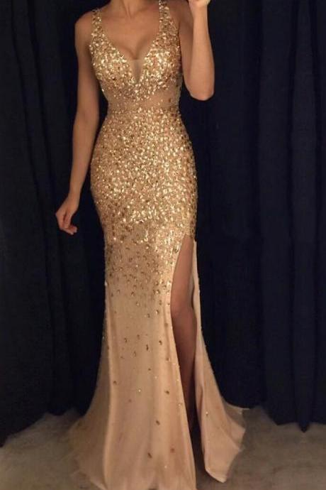 Front Split Gold Prom Dresses With Straps,Sexy V-neck Prom Gonws,Long Prom Dress For Teens,Sparkly Modest Evening Dresses,Party Dresses, DR0392