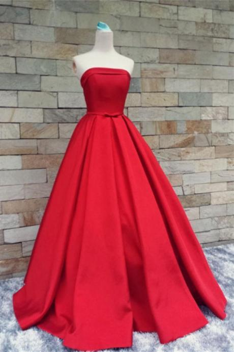 Red Satin Prom Dresses,Strapless Long Prom Gowns,Evening Gowns,Handmade Party Prom Dresses,Modest Prom Gowns,