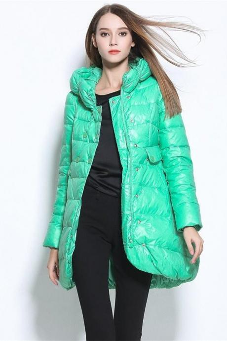 Green Winter Coats,Beauty Long Style Down Jackets,Warm Coats,Fashion Women Clothes
