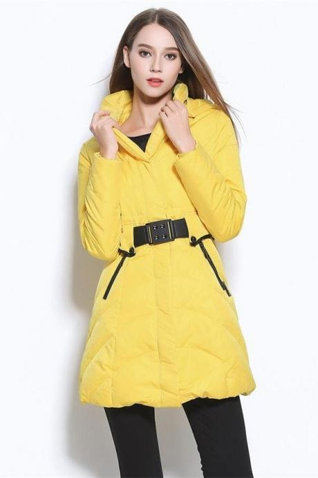 Newest Winter Coats,Yellow Long Style Down Jackets,Warm Women Coats, Comfy Thickening Winter Jackets